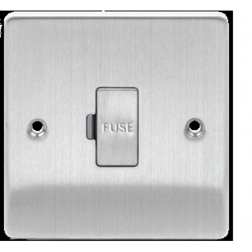 13A Fused Spur Switched//Unswitched Square Edge Brushed Chrome